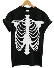 Skeleton T Shirt Skull Halloween Ghost Vampire Scary Costume Dress Up Emo Goth