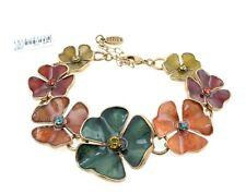 PILGRIM Bracelet CLOVER FLOWER Vintage Gold Swarovski Watercolour Enamel BNWT