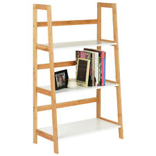 Hartleys White & Bamboo 3 Tier Bookcase Shelves Modern Bathroom Shelving Unit
