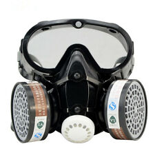 Respirator Gas Mask Safety Chemical Anti-Dust Filter with Eye Goggle Set New