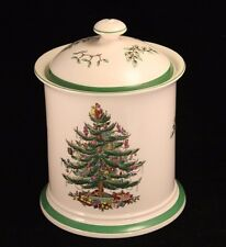"""Spode Christmas Tree Canister or Cookie Jar with Lid - 8½"""" Smaller Size - 3324B"""
