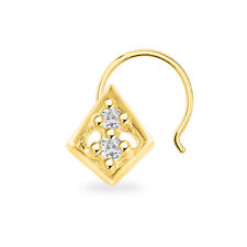 Two Stone Kite Style Women'S Nose Pin 14K Yellow Gold Finish 925 Sterling Silver
