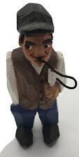 Vintage Anri Hand Carved Painted Wood Man Figure wearing Vest Smoking (Hookah?)