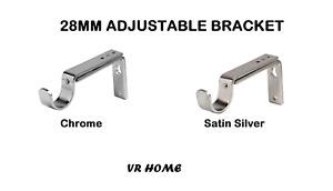 Speedy Adjustable Support Bracket for 28mm Curtain Pole, Chrome - Satin Silver