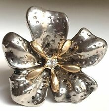 Silver Gold Hibiscus Flower Cocktail Ring Plated Crystal Island Size 6 7 8