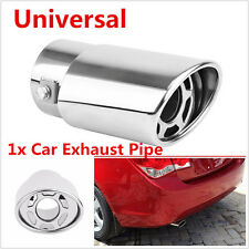 1x Stainless Steel Silver Car Off-Road Rear Round Exhaust Pipe Tail Muffler Tip