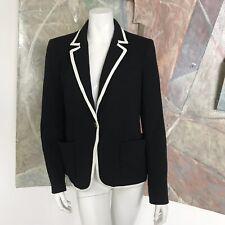 Ann Taylor Black Tuxedo Blazer Womens White Trim Jacket Size Medium