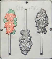 Poinsettia Lollipop Chocolate Candy Mold Christmas 2163 NEW
