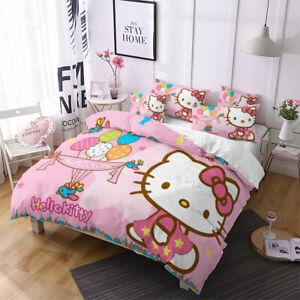 3D Kids Hello Kitty Comforter Cover Bedding Quilt Cover Duvet Cover Pillow Case