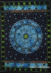 Zodiac Sunsign Design Small Poster Wall Hanging Tapestry Cotton Handmade Indian