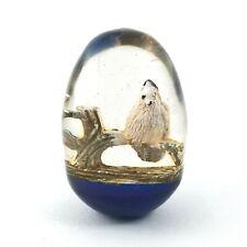 Vintage Lucite Egg w/ Bird in Tree Scene Paperweight White Bird Collectible Art