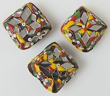 3 Square Button Covers Colorful Mosaics with Mirrors Beads Folk Art Style