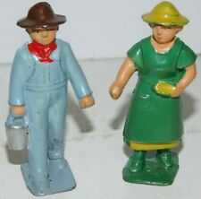 Old 1930s AMT, Jones Lead Dimestore Figures, The Farmer & His Wife, 2 Pieces
