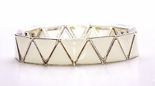 LADIES WHITE/ SILVER TRIANGLES CUTE & CHIC STRETCHABLE BRACELET GREAT GIFT(ZX31)