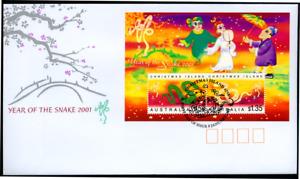 """Weihnachts Inseln 2001 """"Jahr der Schlange - Holoramm"""", MiNr Block 15 auf FDC"""