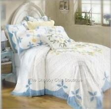 2 Piece Single Twin White Blue Bedspread Quilt Set Chenille Shabby Vintage Roses