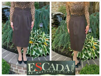 VINTAGE ESCADA MARGARETHA LEY BROWN WOOL PLEATED STRAIGHT PENCIL MIDI SKIRT 38 8