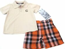Toddler Boy Gift outfit shorts plaid 24 months orange