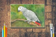More details for african grey parrot print from watercolour box canvas a4 a3 a2 a1 mothers day