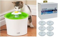 Catit Water Fountain Flower Spout Design Dispenser w/ 6 pack replacement filters