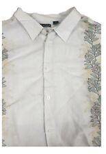 Cubavera White Striped Guayabera Short Sleeve Linen Shirt XLT Big & Tall