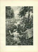 Early 1900s Antique Forest Hunting Print ~ Got Him ~ Deer Hunting
