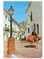 Frigiliana, La Plazuela, Malaga, Spain - Local on Donkey. Rare Picture Postcard