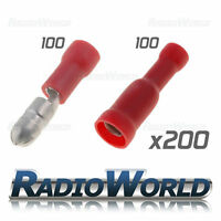 200x Mixed Insulated Red Bullet Terminals Splice Connector Crimp Electrical