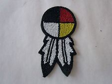 "3"" GLASS BEADED 4 DIRECTION MEDICINE WHEEL W/FEATHERS  ROSETTES CRAFTS  POW WOW"