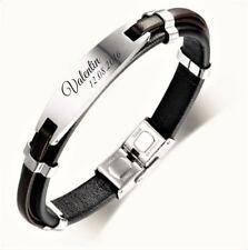 ID Leder Armband mit Edelstahlplatte inkl Gravur nach Wunsch Pulsera Hombre +Box