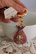 GIFT Key Chain Ring Charm Crystal Pendant PINK MONEY BAG Purse Accessory Fashion