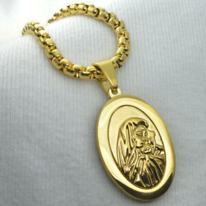 Men Women 18k Yellow gold vacuum plating The Virgin Mary Pendant Chain Necklace