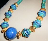 Vintage Blue, Green & Turquoise Style Bead Necklace w Gold-tone Fluted Beads