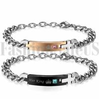 His and Hers Lovers Matching Stainless Steel Couple Bracelet Chain Promise Gift