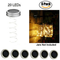 6 Pack Solar Mason Jar Lid Lights 20 LED Fairy String Light Walkway Garden Decor