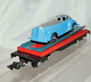 American Flyer 715 Unloading flatcar w/Blue & Silver Manoil Coupe 1952 blue ramp