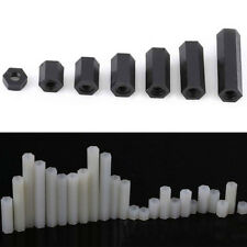 M3/4 Black/White Nylon Hex Column Female Thread Spacer Standoff Screw Nut Pillar
