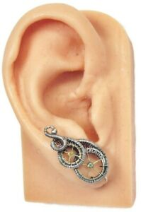 Pair of Sterling Silver Steampunk Ear Pins with Brass Watch Gears
