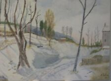 """A. Sima, Oil on Board Painting Impressionist Realism """"Winter in Louveciennes"""""""