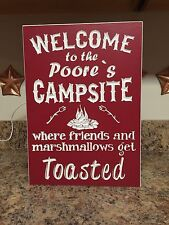 Campsite Sign Personalized Custom Made Camping Lot Number Welcome Camp PVC
