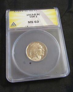 1913-D Denver Mint Indian Head Buffalo Nickel Typ 1 AN4