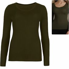 M&S 6 8 10 12 14 Heatgen Thermal Top Stretch Jersey Long Sleeves Olive Green New