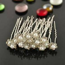 20pcs Bridal Wedding Flower Crystal Diamante Rhinestones Pearls Hair U Clip Pins