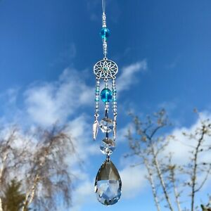 New Hanging Sun Catcher ~ Dream Catcher Design ~ Glass Crystal Drop ~ Turquoise