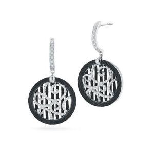 ALOR Noir White Gold & Black Stainless Steel Diamond Earrings 03-52-0972-11