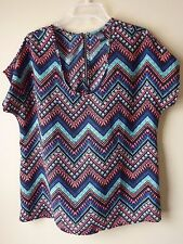 Woman's Multi-Colored Back Zippered Blouse Size L