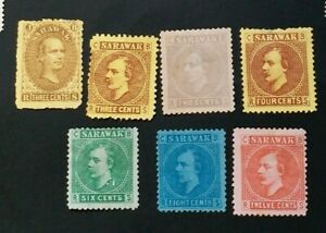SARAWAK 1869 - 1875 3c to 12c SG 1 2 3 - 7 Sc 1 2 3 - 7 MH all with thin on back