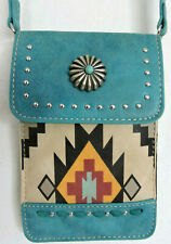 Teal w Aztec Design Touch Screen Slim Crossbody Universal Cell Phone Case