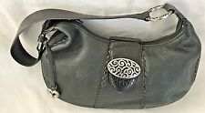 "Black 8X14"" Leather BRIGHTON Purse w one Strap & Silvertone Hardware"