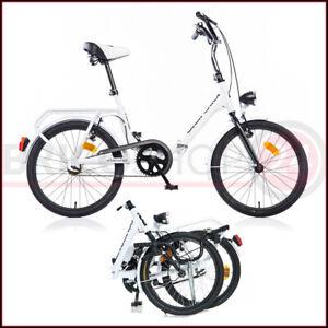 Bicicletta Pieghevole Ruota 20 Bianco Borsa da Passeggio Donna Fanali Uso Citta